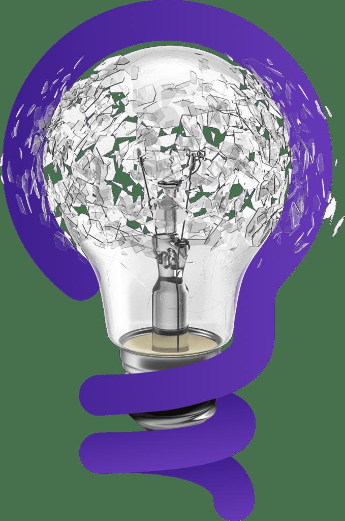 Logo da Know Stuff e lâmpada entrelaçadas