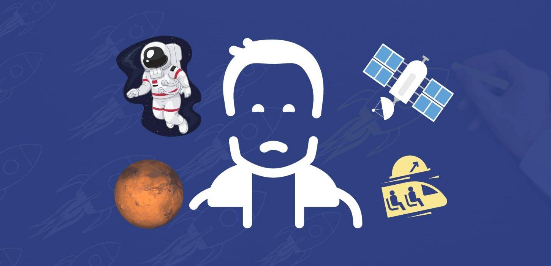 Contorno de Elon Musk com ilustrações de satélite, astronauta, marte e hyperloop ao redor de seu contorno