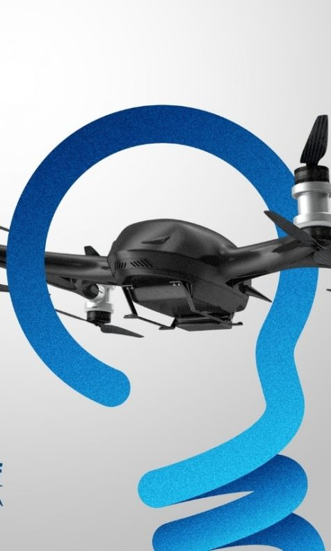 Drone envolvido por logo da Know Stuff