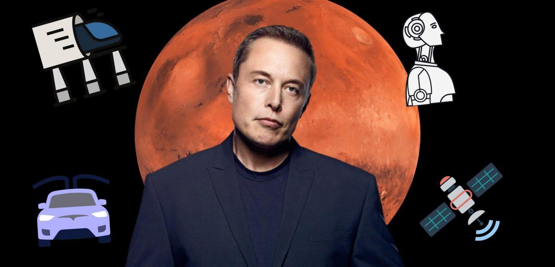Elon Musk com planeta marte no fundo e ilustrações ao seu redor representando projetos que propõe e implementa