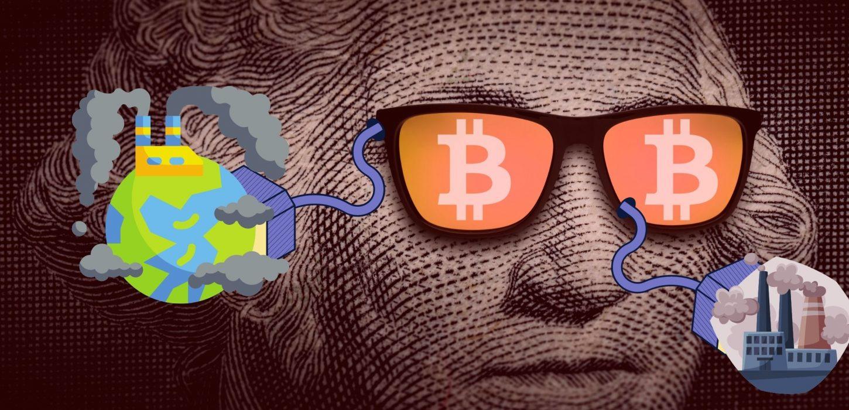 Foto antiga de homem com óculos editado com símbolo do Bitcoin em cada lente, cada uma com um cabo de energia ligado a indústrias poluidoras