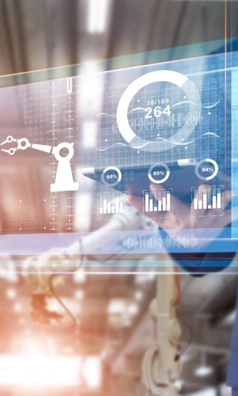 Máquinas e gráficos com vários dados em tela digital, para representar a indústria 4